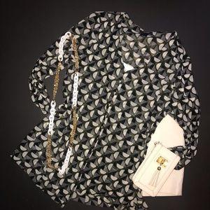 Alfani geometric design sheer tunic